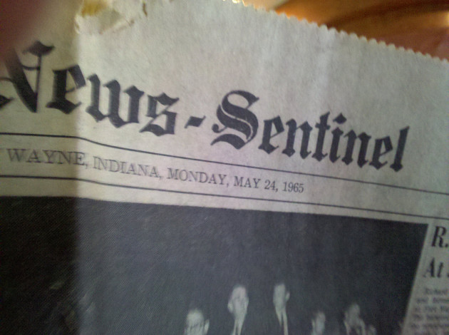 1965 Fort Wayne News Sentinel newspaper