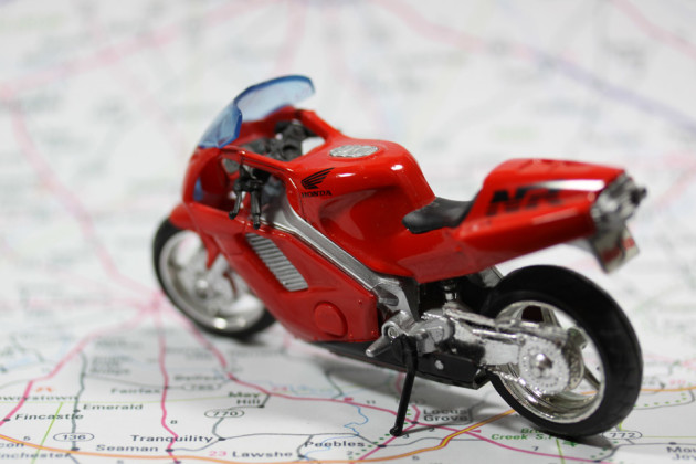 Stocke image of a motorcycle on a map