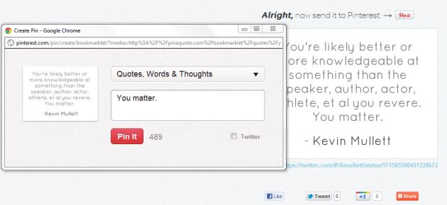 Pin A Quote allows you to attribute and link to quotes.