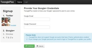 TwooglePlus asking for Google Plus Password