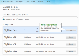 SkyDrive cloud storage existing user bonus