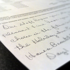 Hotel Handwritten Note Hiccup